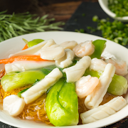 Three Kinds of Seafood & Vegetables Fried Noodle
