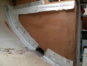 Photo: 1708 coth cut for tabbing on new cockpit locker bulkhead