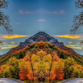 Pyramid Mountain by Brandon Montrone - Digital Art Places ( abstract, reflection, mountain, creative, colorful, art, fine art, canyon, landscape, leaves, mirror, mirrored reflections, nature, tree, autumn, sunset, digital art, outdoor, fall, trees, fractal )