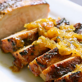 Grilled Pork Tenderloin with Peach Glaze and Orange-Habanero Mojo.