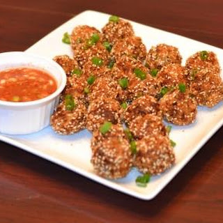 Salt Cod Fritters with Asian Dipping Sauce.