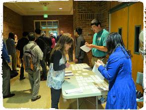 Photo: The registration table Stat grad students organized effort!
