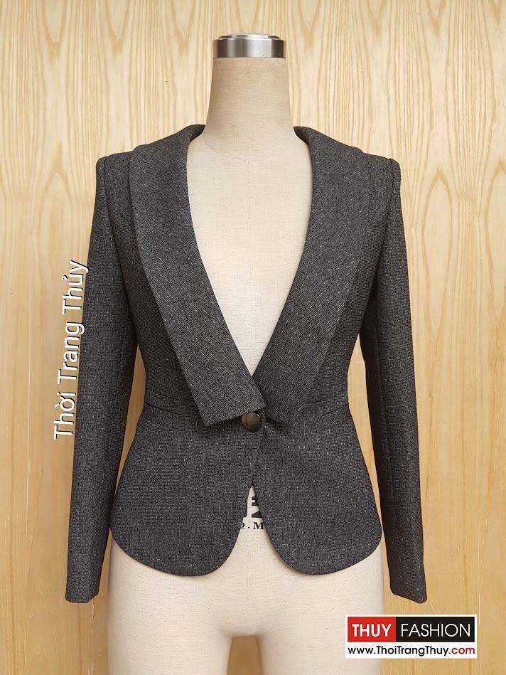 Áo vest nữ công sở cổ vuông cách điệu màu xám đen V445 Thời Trang Thủy