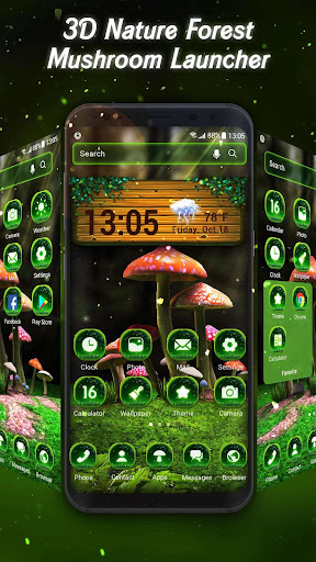 3D Nature Forest Mushroom Live Wallpaper &Launcher screenshots 1