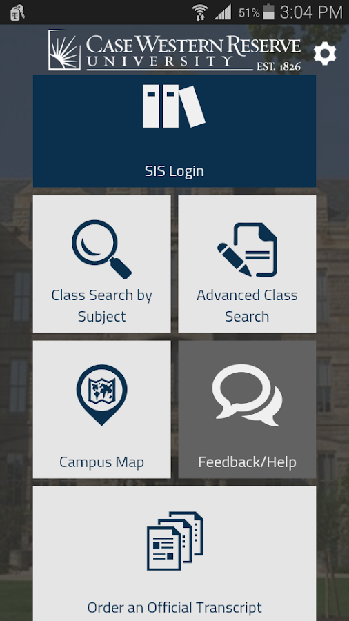 CWRU SIS Mobile- screenshot