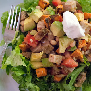 Chopped Salad with Pork, White Beans and Avocado with Cajun Honey Lime Dressing