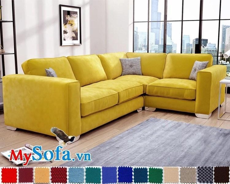 Sofa nỉ góc chữ L màu vàng chanh cho căn nhà bừng sáng