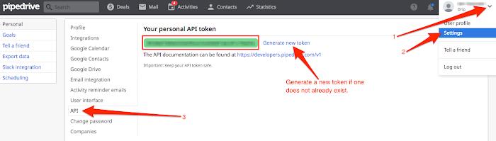 API key in Pipedrive