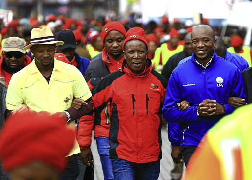 The relationship between Julius Malema's Economic Freedom Fighters, centre, and Mmusi Maimane's Democratic Alliance is as good as a marriage of convenience.