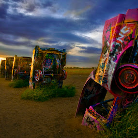 Cadillac Ranch - Amarillo, Texas  Route 66 by Lee McLaughlin - Artistic Objects Other Objects ( car, icon, park, texas, art, bizarre, americana, amarillo, sunset, dramatic, auto, route 66, cadillac ranch )