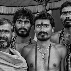 Devotees by Elaine Springford - Black & White Portraits & People ( kanchipuram, men, south india, vishnu, pilgrim )