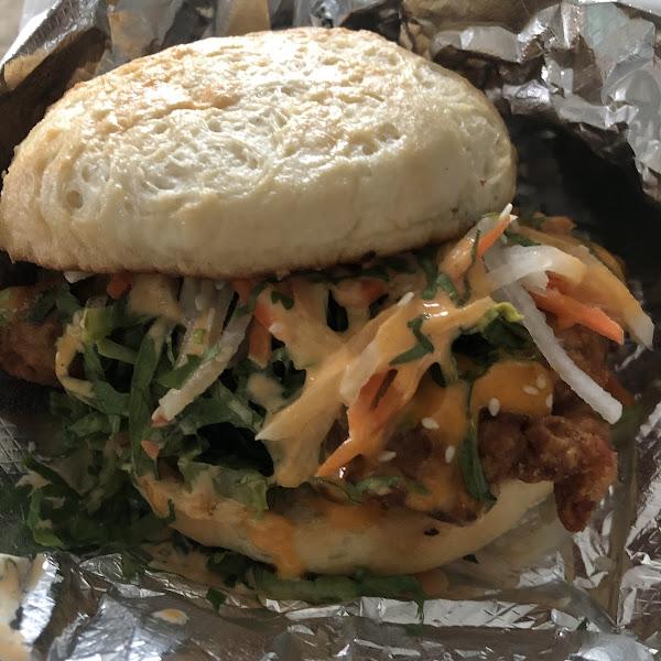 Chicken sandwich special on gluten free bun (chicken coated in rice flour mixture)
