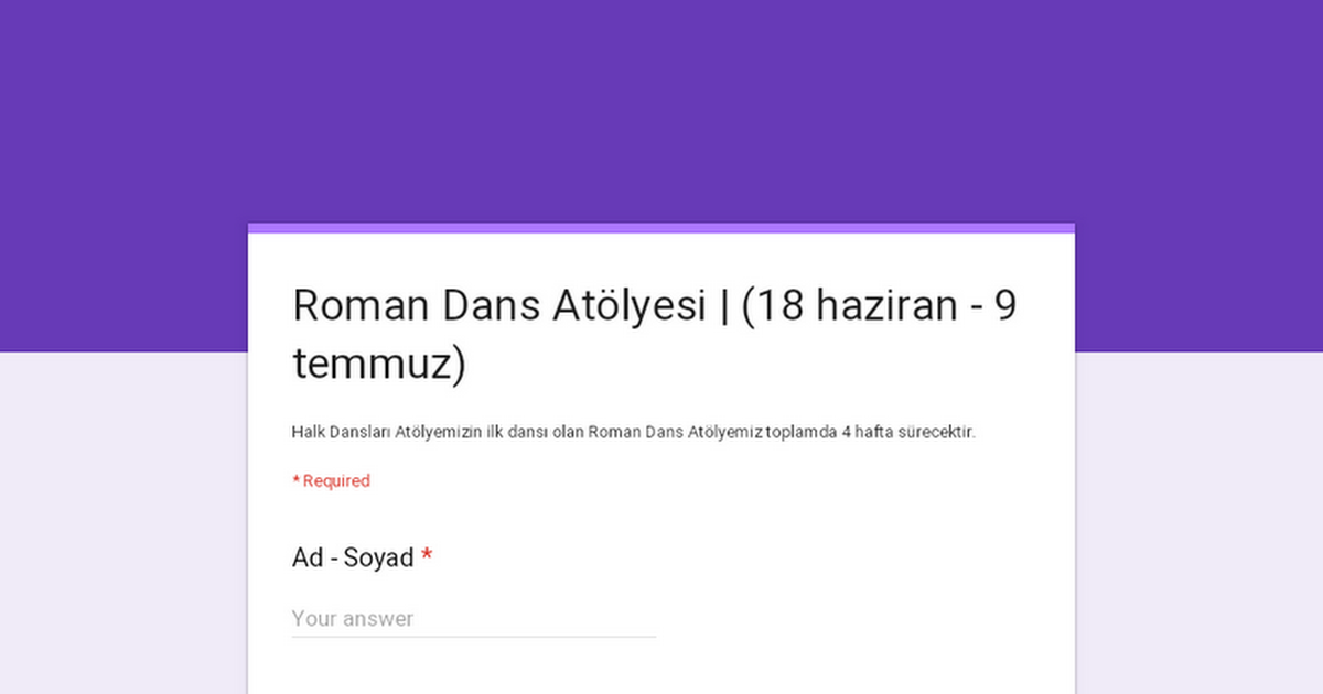 Roman Dans Atölyesi | (18 haziran - 9 temmuz)