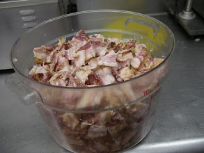 Photo: This is my house-cooked bacon and is one of my deluxe pizza toppings,  in addition to house cooked chicken and steak toppings. The bacon seen here is 70% COOKED TO DEGREASE IT.....AND THEN ON THE top of the PIZZA, ITS COOKED THE REMAINDER OF THE WAY. wOOPS! cap loc on