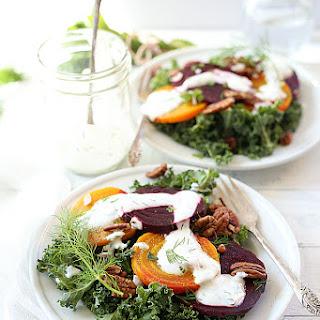 Roasted Golden and Purple Beet Kale Salad with Herb Greek Yogurt Dressing Recipe