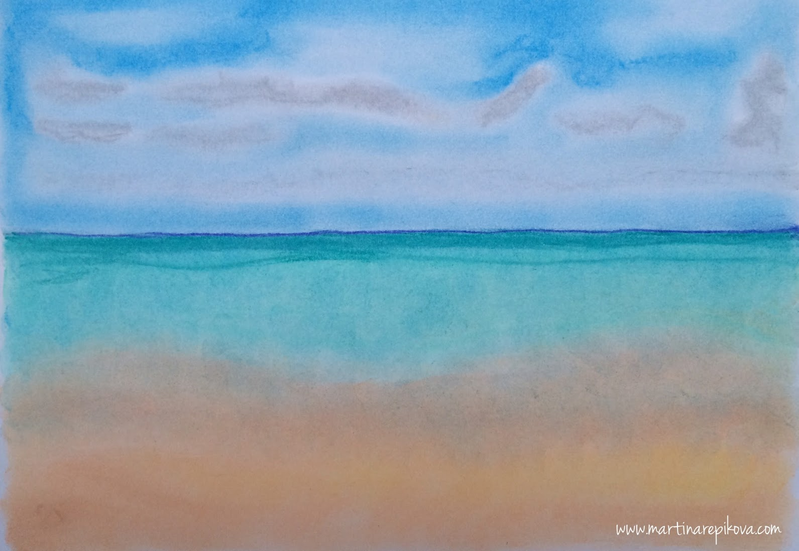 Beach at Maldives (a pastel drawing)