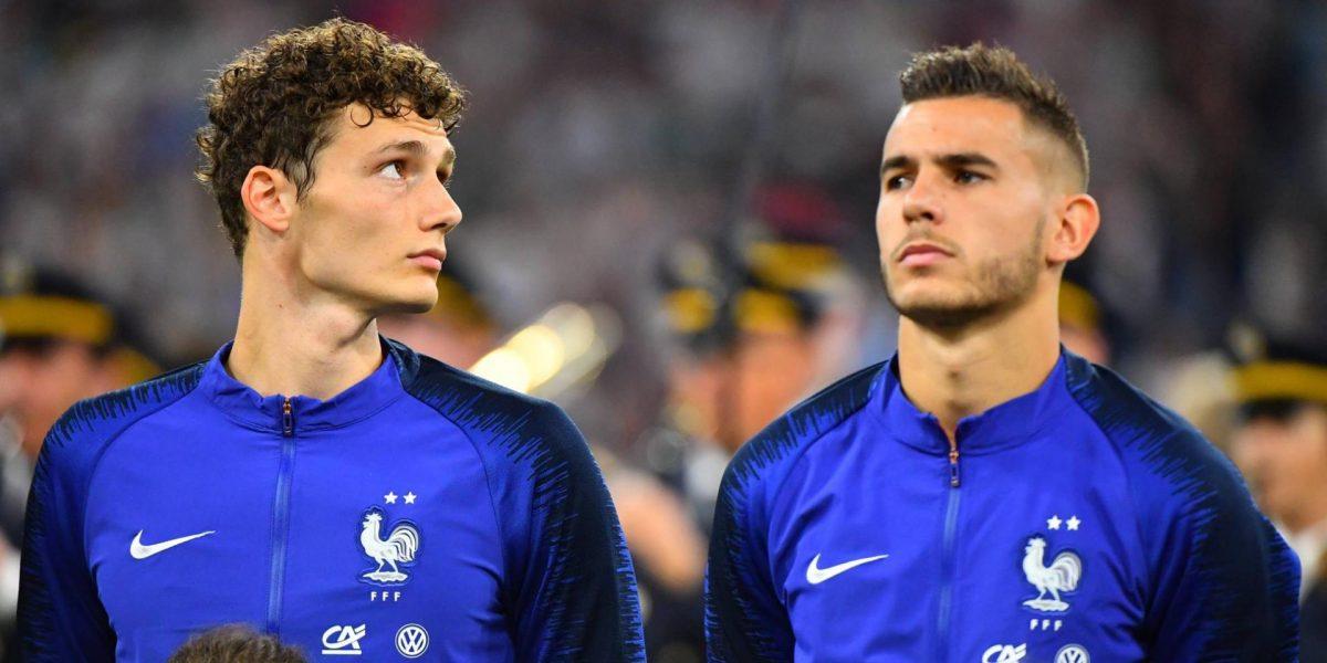 Benjamin Pavard and Lucas Hernandez representing France