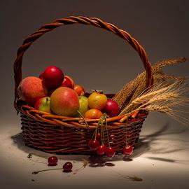 fresh fruit by Enver Karanfil - Food & Drink Fruits & Vegetables ( apple, cherry, basket, pear, pomegranate,  )