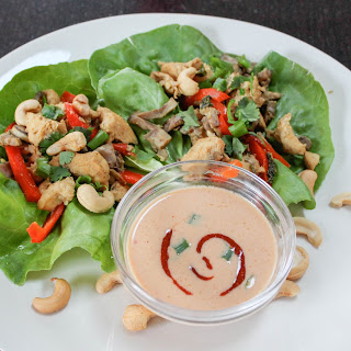 Thai Chicken Lettuce Wraps with Coconut Peanut Sauce.