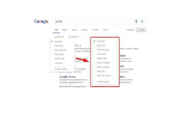 Google Search date range shortcut