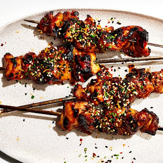 Soy-Basted Chicken Kebabs With Sesame-Citrus Sprinkle.