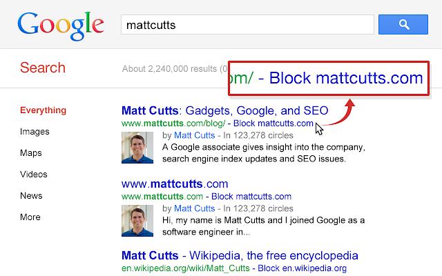 Personal Blocklist (by Google) Screenshot