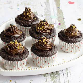 Chocolate Cupcakes with Avocado Chocolate Frosting.