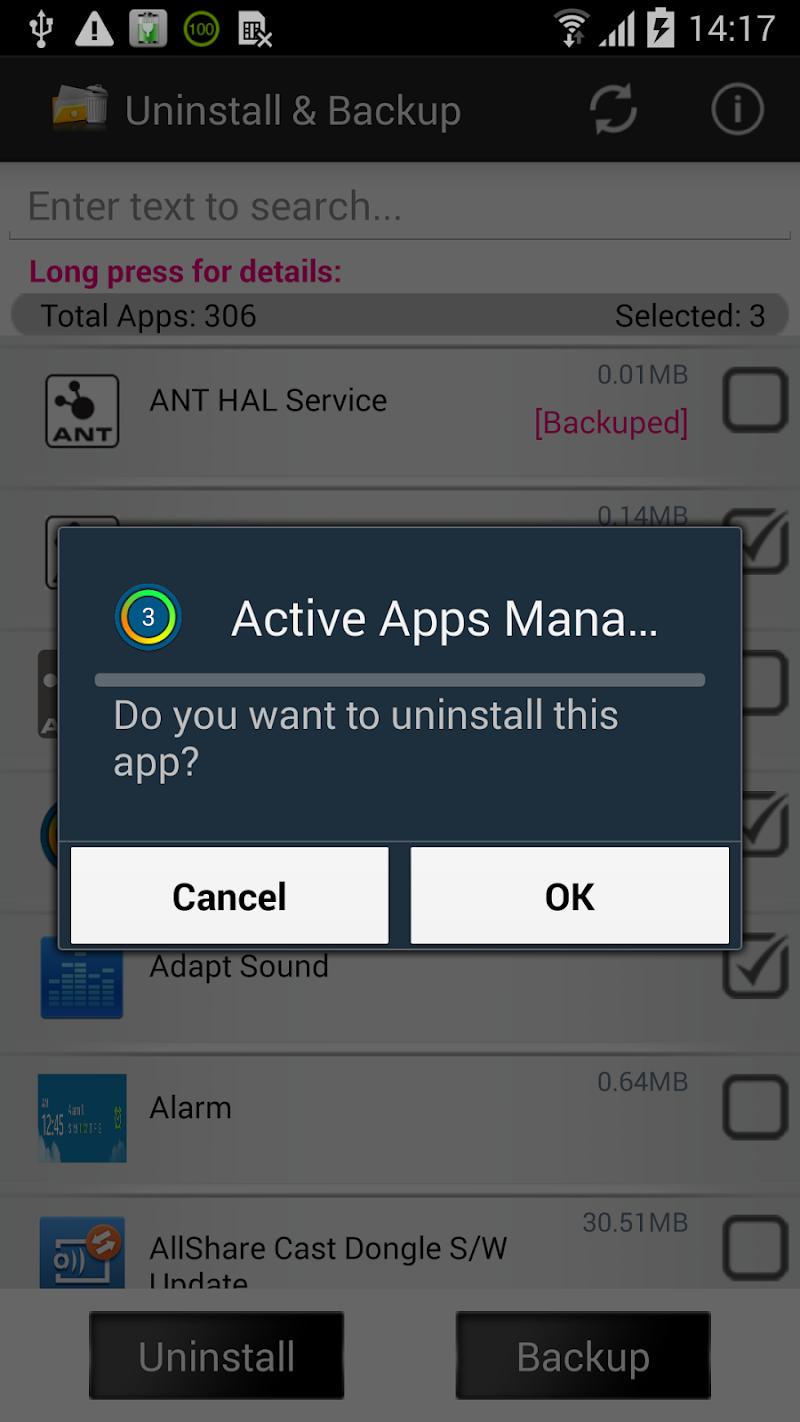 Скриншот Удаление Мастер - App Backup