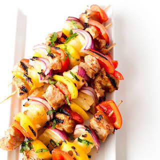 Hawaiian Pork Kabobs And Bread Pudding.