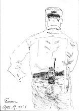 Photo: 林科員的背影2011.04.19鋼筆 每次我在畫畫,林科員總是開玩笑說他有肖像權要跟我收錢,那好!我只畫背影總行吧!