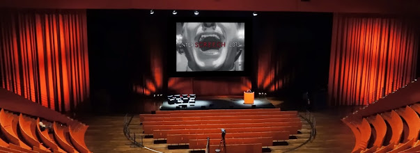 "Photo: Inter""Screech"" video shown in Ampithéâtre Cité Internationale ; a video made for InterSpeech 2013 conference by Julie Meitz, Lyon, France"