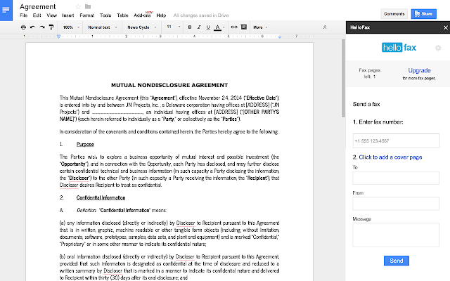 cover page google docs