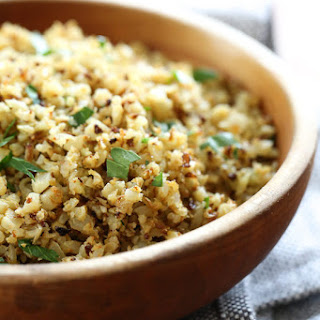 "Roasted Cauliflower ""Rice"" with Garlic and Lemon."
