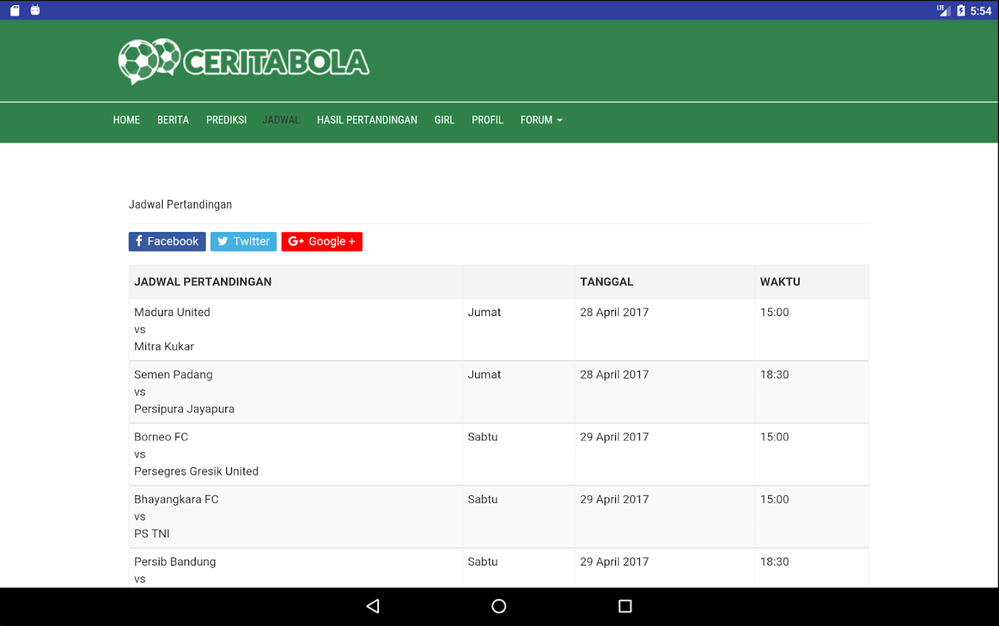 ceritabola.id Mobile Android- screenshot