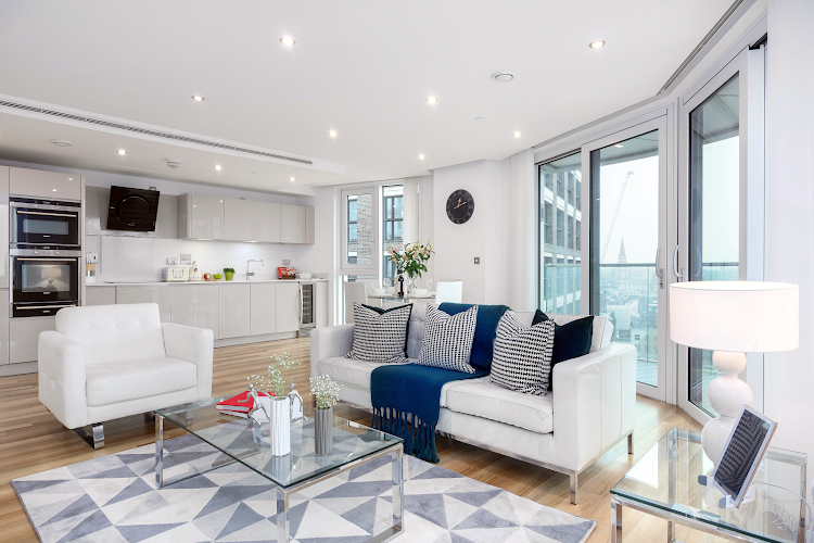 Bright living room at Altitude Point Serviced Apartments, Aldgate