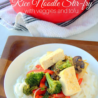 Rice Noodle Stir-fry with Veggies and Tofu.