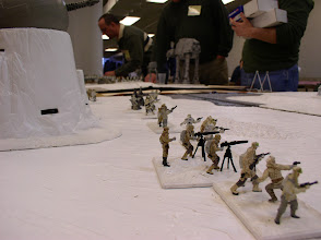 Photo: Scenerio 9: Hoth Last Stand - Echo Base is on the left as we look down the Rebel line.  Three Artillery elements are tucked in behind a trench that adds +1 to missile fire attacks.