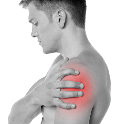 man touching painful area on left shoulder