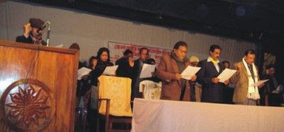 Photo: Members of Panchagarh dist. unit committee of Sector Comd. Forum making pledge to continue campaign for trial of war criminals in 16 January, 2010 at Panchagarh govt auditorium in the town. [Photo Daily Star]