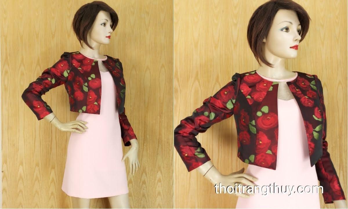 Áo khoác cộc nữ kiểu dài tay thu đông họa tiết hoa V639 Thời Trang Thủy