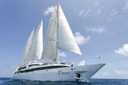 Ponant-under-sails.jpg - Set sail for the Mediterranean, the Caribbean, and the Pacific Islands on a Ponant Yacht Cruise.