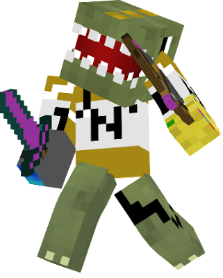This is a TNT Shocker Dinosaur with the Infinity Gauntlet
