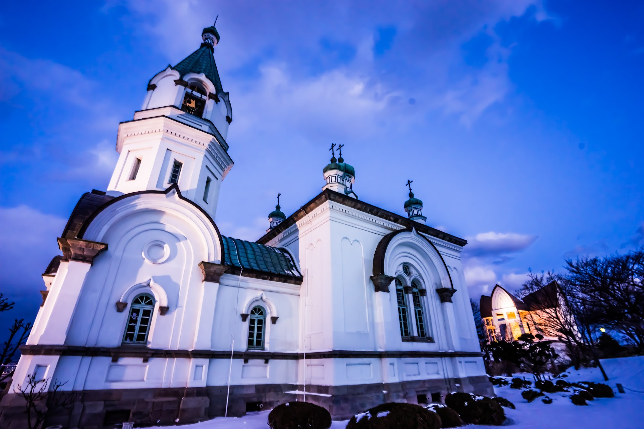 Hakodate Orthodox Church evening view3