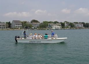 Photo: RCR is only accessible by private boat, passenger ferry or kayak. Pictured here is a Rachel Carson public field trip.