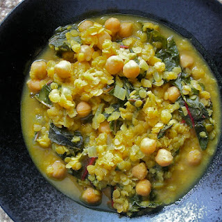 Curried Lentil, Garbanzo Bean and Swiss Chard Stew.