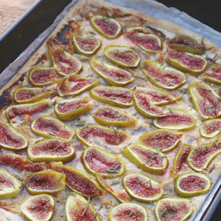 Mom slicing the figs for this tart in Italy.