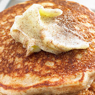 Apple Whole-Wheat Pancakes with Cinnamon Butter.