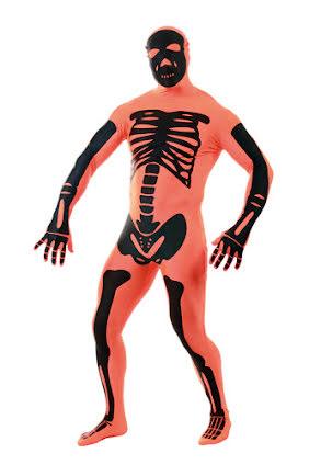 Morphsuit, orange skelett