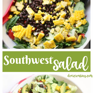 Southwest Chopped Salad With Black beans, Corn and Avocado.