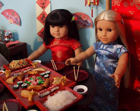 Photo: The chop sticks are craft sticks from the craft store and I found the plates at a flea market.  (I made Julie's dress.)